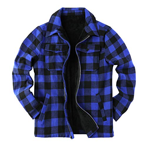 Mens Fleece Jacket Sherpa Lined Zip Up Buffalo Plaid Flannel Coat Casual Long Sleeve Warm Fall Winter Outwear