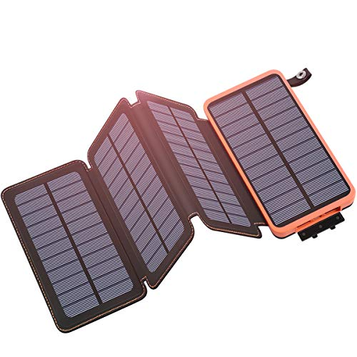 Tranmix Solar Charger 25000mAh Portable Power Bank with 4 Solar Panels 6W Power Phone Charger for Smart Phones, Tablets and Outdoor Waterproof