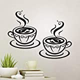 2 tazas pegatinas de pared de cocina arte decoración de vinilo calcomanía para azulejos de decoración de café cartel oficina casa plantillas de transferencia de citas accesorios pegatinas de pared