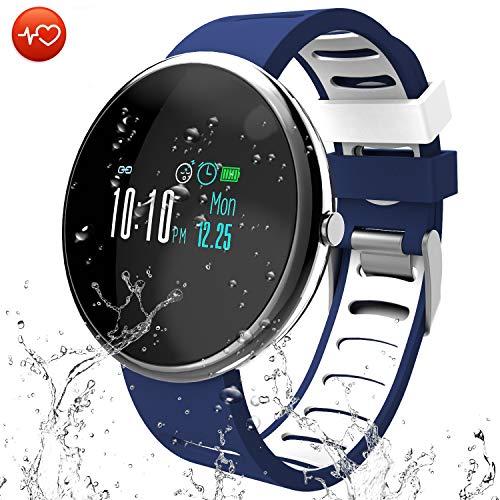 CatShin Fitness Tracker Smartwatch-Activity Tracker-CS06 Impermeabile Orologio Fitness Schermo a Colori-Contapassi, Calorie Distanza Notifiche Messaggio Smartband per Donna Uomo per iOS Android (Blu)…