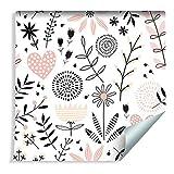 Muralo Papiers Peints pour Enfants - Plantes Délicates et Cœurs Vinyle Style Scandinave Pastel De Bon goût - 188636129