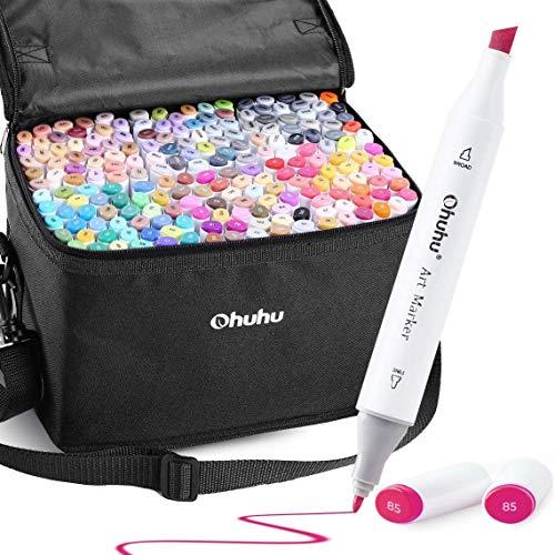 Graffiti Stift Permanent Marker, Ohuhu 200 Farben Kunst Marker, Doppel Spitzen Marker für Kinder Erwachsene Färbung, Alkohol-basierte Sketch Marker zum Zeichnen Skizzieren, 1 Farbloser Marker Mixer