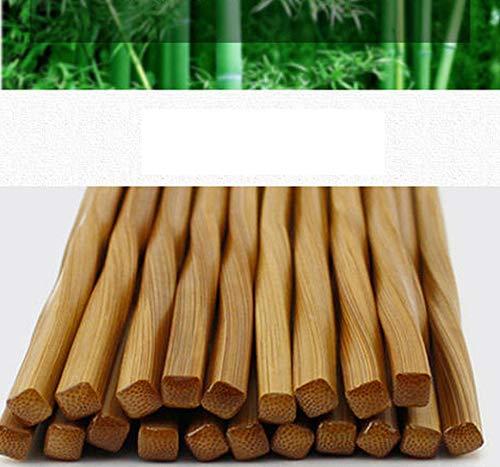 JapanBargain 3650x2, 10 Pair Bamboo Chopsticks Reusable Japanese Chinese Korean Wood Chop Sticks Hair Sticks Gift Set Dishwasher Safe, 9 inch, Twist