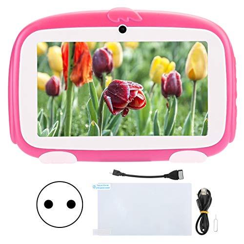 FECAMOS Tableta para niños, 9.0 HD 1GB + 16GB Learning E-Reader HD Tableta, Smart Pad para Google para Android, Tableta educativa para niños pequeños, 7 Pulgadas Rojo 100‑240V(Enchufe Europeo)
