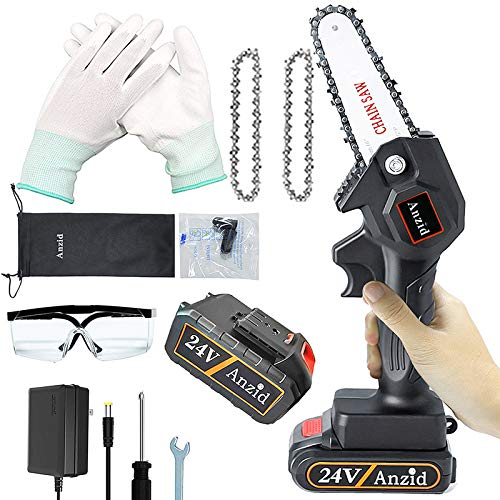 Mini Chainsaw Set Hand-held Pruning Saw Small Chainsaw For Women With Cord Goggles And Earplugs Rechargeable Electric Cordless Chainsaw One Hand Chain Saw Garden Wood Cutting Pruning (24v 1Battery)