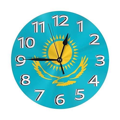 Kazakhstan - Reloj de pared con diseño de la bandera de la bandera de la Unión Europea (25 cm de diámetro)
