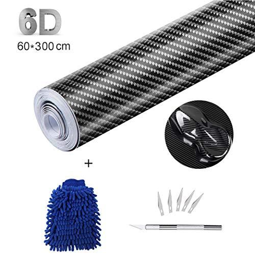 sfesnid Vinilo de Fibra de Carbono 6D + película del Vinilo de los Kits de instalación del aplicador Textura sin Burbujas de Aire Decoración para Vehículos Pegatinas de Bricolaje (60cm*300cm)