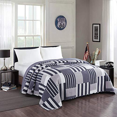Laneetal 0180027, Tagesdecke Bettüberwurf Steppdecke Bettdecke Patchwork Stepp Decke Doppelbett unterfüttert und gesteppt Wendedesign, 220x240 cm
