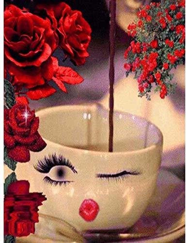 HBGLX - Kit de pintura de diamante 5D con diseño de taza de flores rojas, cristal de perforación completa, punto de cruz, manualidades, decoración de pared, 40 x 50 cm