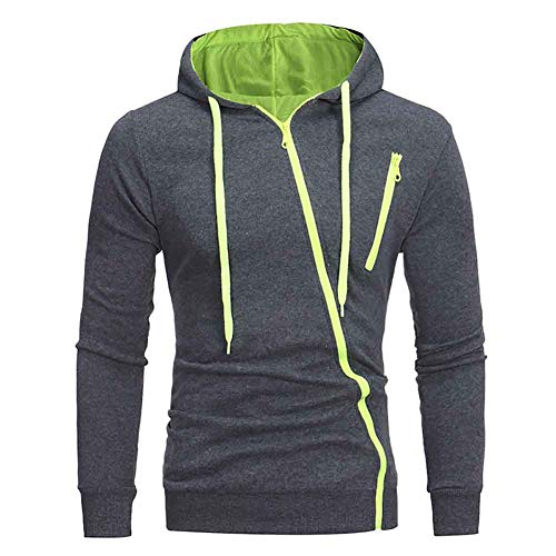 acelyn Heren Casual Zip Hoodies Lange Mouwen Tops Vest Fleece Hooded Sweatshirt M-3XL