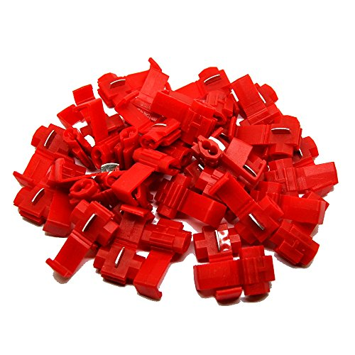 MUYI 100 Pcs Red Electrical IDC 0.5-1.0mm² Wire Connector Double Run or Tap 22-18 AWG (Tap), 18-14 AWG (Run) 0.75x1.26inches. (WxL) 10A Max. Current Flame Retardant One Pack (Red)
