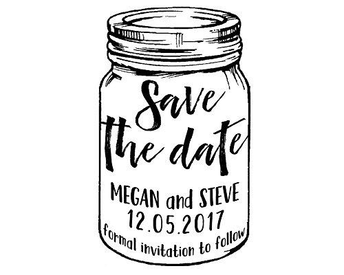 Personalisierte Abwehr die Datums-Maurer-Glas-Stempel-kundenspezifische selbstfärbende Hochzeits-Einladungs-Stempel