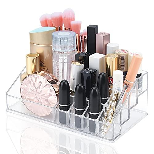 Organizador Maquillaje, Transparente Acrílico Organizador de Cosméticos con 16 Compartimentos para Guardar Maquillaje Cosméticos y Productos de Belleza
