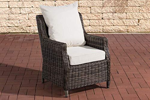 CLP Polyrattan-Sessel Montero Mit Sitzkissen I Gartenstuhl Mit Untergestell Aus Aluminium, Farbe:grau-meliert, Polsterfarbe:Cremeweiß