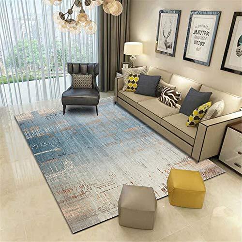 alfombra dormitorio matrimonio Azul Alfombra sala de estar gris minimalista retro viejo patrón anti-sucio alfombra de lavado...