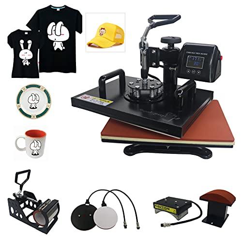 5 in 1 Heat Press 12' x 15' Swing Away Heat Press Machine for T Shirts Hat Mug Cap Plate, Color LED 360-degree Rotation Digital Multifunctional Sublimation Heat Transfer Machine