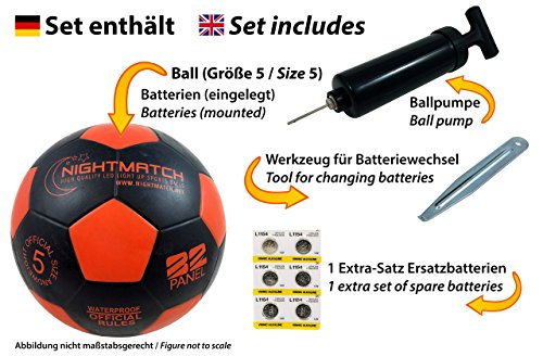 NIGHTMATCH Light Up Soccer Ball INCL. Ball Pump and Spare Batteries - Black Edition - Inside LED Lights up When Kicked - Glow in The Dark Soccer Ball - Size 5 - Official Size & Weight - Black/Orange