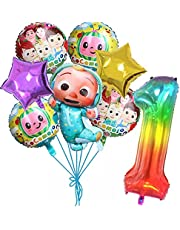Cocomelon Balloons, 8 pcs Foil Balloons for 1st Birthday Party Decoration (1 year old)