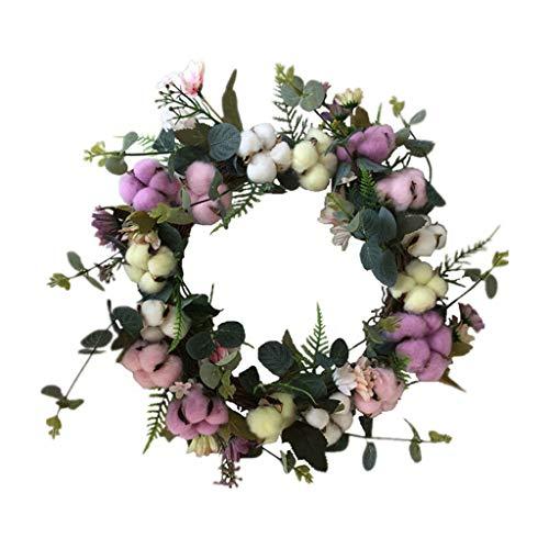 Cgration Künstliche Blumen, farbiger Baumwollkranz, für den Außenbereich, für Weihnachten, Hochzeit, Haustür, Wand, Fenster, Party, Hochzeitsdekoration
