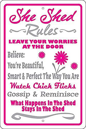 Brandless She Shed Rules Tin Sign Wall decor Retro Metal poster Painted Art Poster Decoration Plaque party Game Room Warning Band Yard Garden
