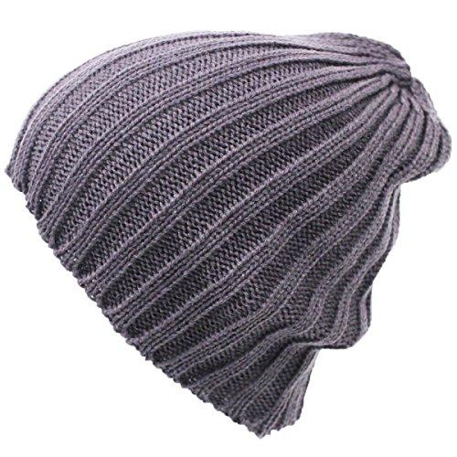 HIROMARUjp ニット帽 シンプル ニットキャップ 男女兼用 帽子 グレー