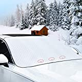 4 Major Upgraded Car Windshield Snow Cover, Magnetic Edge Car Snow Covers, No Scraping Car Windshield Snow ice cover, Snow, Ice, UV, Frost Defense, 4 Layers & Extra Large Fits Most Car, SUV, Truck