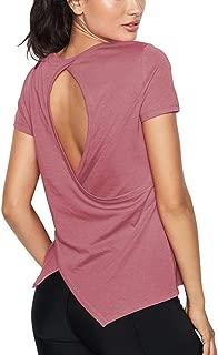Bestisun Women's Open Back Exercise Workout Shirts Split Back Crossover Yoga Fitness Short Sleeve