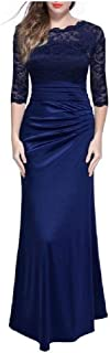 neveraway Women Sexy Half Sleeve Bodycon Vintage Party Wedding Long Maxi Dress