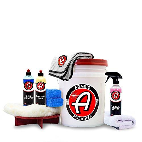 Adams Basic Wash & Wax Kit  Car Shampoo Foam Soap, Buttery Wax, Microfiber Applicators, Drying & Waxing Towels, Wash Bucket and More Car Cleaning Supplies to Polish & Protect Car, Boat & Motorcycle