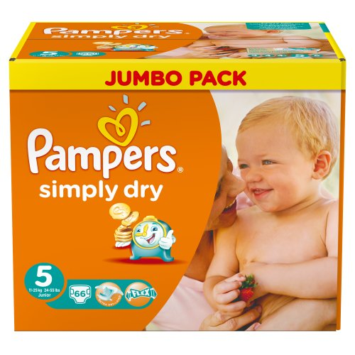 Pampers Simply Dry Gr.5 Junior 11-25kg Jumbo Box, 1er Pack (1 x 66 Windeln)