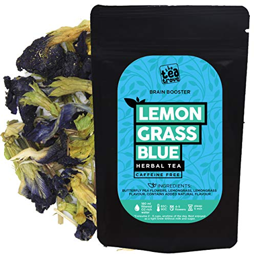 The Tea Trove Butterfly Pea Flower Tea with Lemongrass for Skin Glow and Brain Health (20 GMS) | Steep as Hot Purple Tea or Iced...