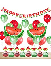 Watermelon Party Decorations Birthday for Boy or Girl Happy Birthday Banner Watermelon Agate Polka Dot Balloons Cupcake Toppers