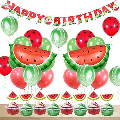 JOYMEMO Sandía Decoraciones para Fiestas Cumpleaños para niñas Feliz cumpleaños Banner Sandía Ágata Lunares Globos Primeros de la Magdalena