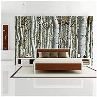 Wkxzz 壁の背景装飾画 カスタム壁紙3Dシームレス壁画白Rの森壁画装飾寝室リビングルームの背景壁紙壁装材-200X140Cm