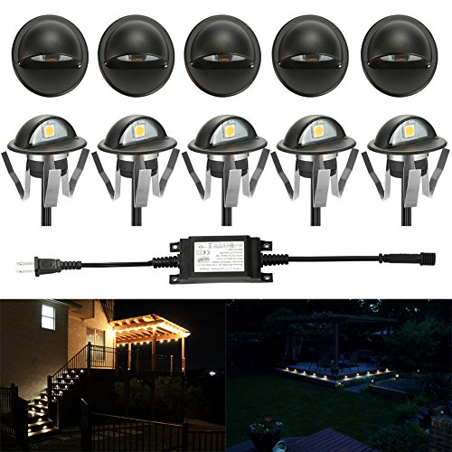 FVTLED Pack of 10 Warm White Low Voltage LED Deck lights kit Φ1.38