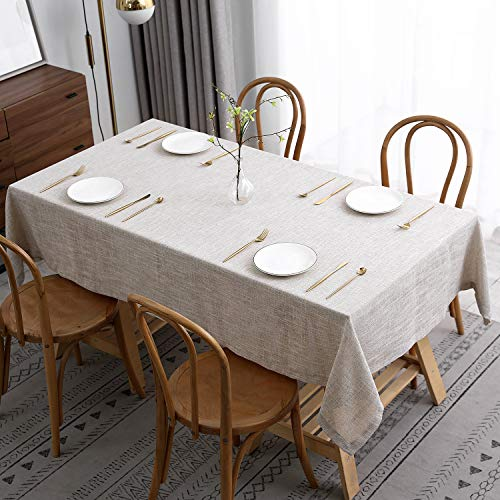 maxmill Flaxy Faux Linen Table Cloth with 2-Tone Slubby Texture Wrinkle Resistant Anti-Shrink Soft Tablecloth for Kitchen Dining Tabletop for Buffet Banquet Parties Rectangle 52 x 70 Inch Linen