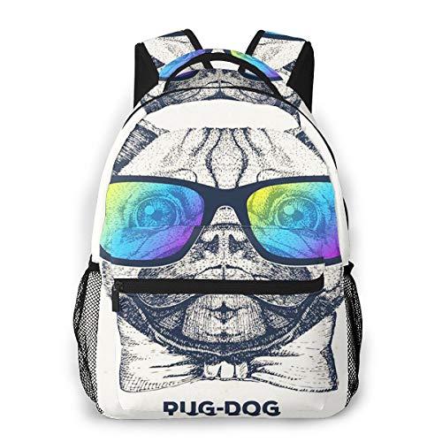 Laptop Rucksack Daypack Schulrucksack Backpack Mops Maulkorb, Business Taschen Freizeit Rucksack Arbeits Schultasche für Herren Männer Schüler Schule