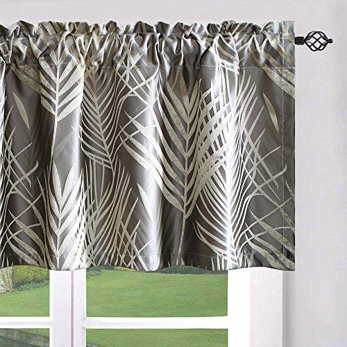 Leeva Windows Curtains Valances for Kitchen, Energy Saving Plant Jacquard Pattern Fantasy Window Curtain Valance for Living Room, One Panel, 52x18, Grey