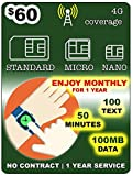 1 Year Service SmartWatch SIM Card for 2G 3G 4G LTE GSM Smart Watch and Wearables-Roaming Available