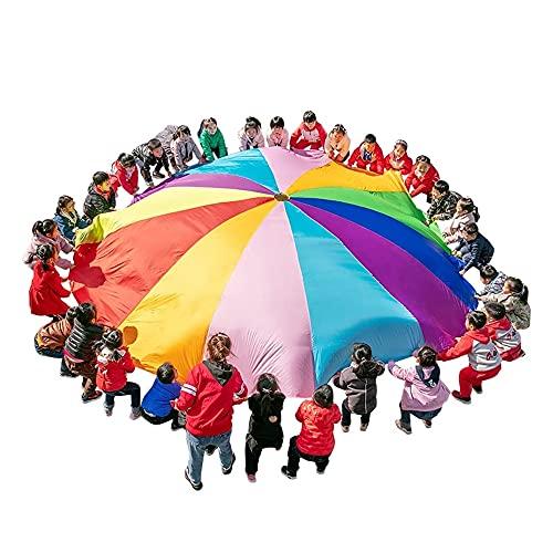 N / B Niños juegan paracaídas, 16 pies para niños con 12 Asas de la Tienda de campaña de Arco Iris para niños Fiesta de cooperación gimnástica y Actividades de Juegos al Aire Libre