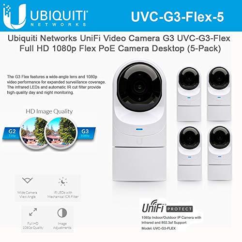 UniFi Video Camera G3 UVC-G3-Flex Full HD 1080p Flex PoE Camera Desktop Network Camera with Night Vision (5-Pack)