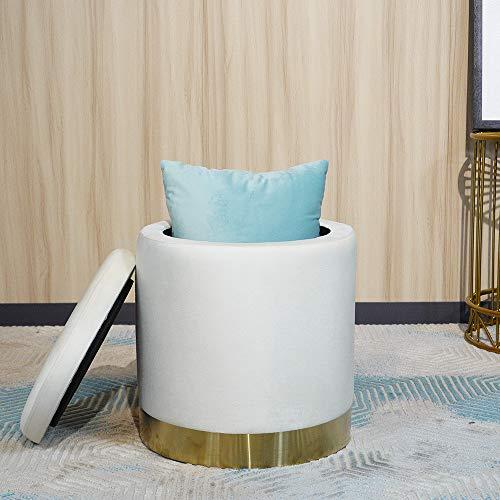 YUN JIN Juego otomano de 38 x 38 x 41 cm, reposapiés redondo de terciopelo, asiento moderno taburete de tocador, práctico reposapiés con tapa extraíble para dormitorio, sala de estar (blanco)