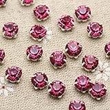 200pcs 3.8mm Color de la mezcla de colores Base plateada Coser en piedra con garras Configuración chapada Chatons Cristal Piedras de cristal Decoración de vestido-rosa