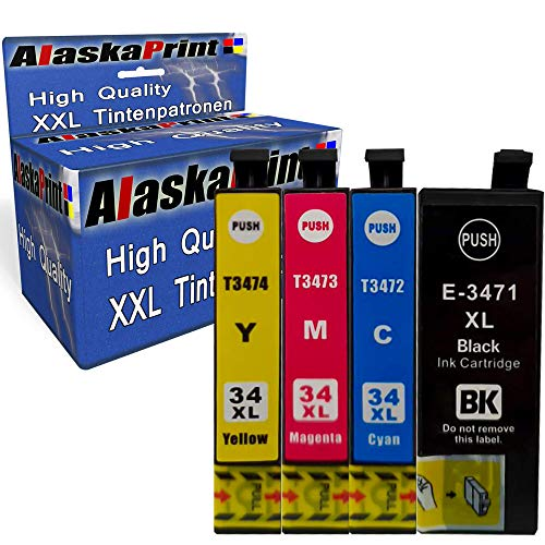 Cartucho de Tinta Compatible con Epson 34 XL 34xl para Epson Workforce Pro WF-3720dwf WF-3725 WF-3725DWF WF-3720, Color 4 Unidades