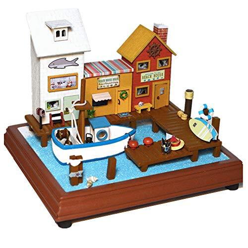 Kinder Bausteine  Holz Miniatur-Puppenhaus Bausätze mit LED und Einrichtungshäuser Handwerk Haus Gebäude Kits Weihnachten Geburtstag Geschenke for Erwachsene und Teenager Lernspielzeug