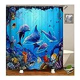 KnSam Anti-Schimmel Wasserdicht Duschvorhang Inkl. 12 Duschvorhangringen Delphin Gardinen An Badewanne Bad Vorhang für Badezimmer 90 X 180 cm