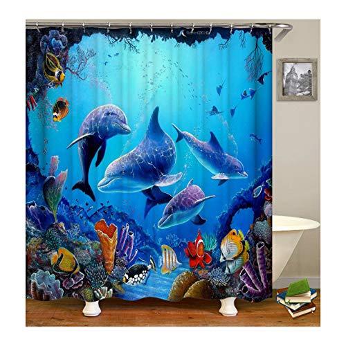 KnSam Anti-Schimmel Wasserdicht Duschvorhang Inkl. 12 Duschvorhangringen Delphin Gardinen An Badewanne Bad Vorhang für Badezimmer 120 X 180 cm