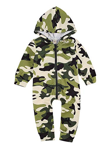 Carolilly Schlafanzug Baby Jungen Pyjama Neugeborene Overall Jungen Jumpsuit Camo Pyjama Jungen Softshelloverall (Tarnung, 0-3 Monate)