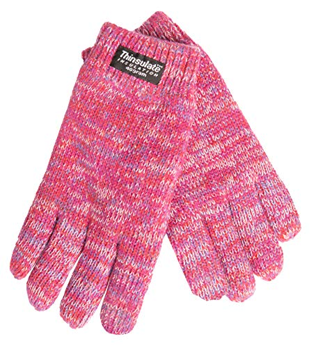 EEM Kinder Strick Handschuhe SNOW AND FUN mit Touch-Funktion und Thinsulate Thermofutter aus Polyester, Strickmaterial aus 100% Baumwolle, smartphone; pinkmix, S