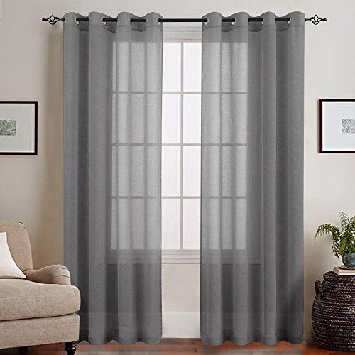 TOPICK Grau Lange Gardinen Vorhang für Wohnzimmer transparent mit Ösen Ösenschal dekoschal Voile 225 x 140 cm (H x B) 2er Set